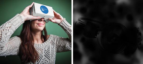 à gauche : une personne fait l'expérience de la malvoyance à l'aide de lunettes de réalité virtuelle. À droite = Photo d'un objet à deviner. Le visuel est parsemé de taches noires pour simuler la vision d'une personne atteinte de rétinopathie diabétique.
