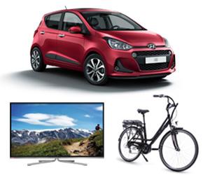 collage van enkele prijzen van de tombola 2017 (Hyundai i10, tv, elektrische fiets)