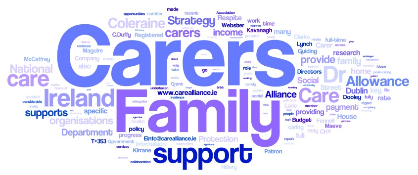 Word cloud from words to do with policy and caring