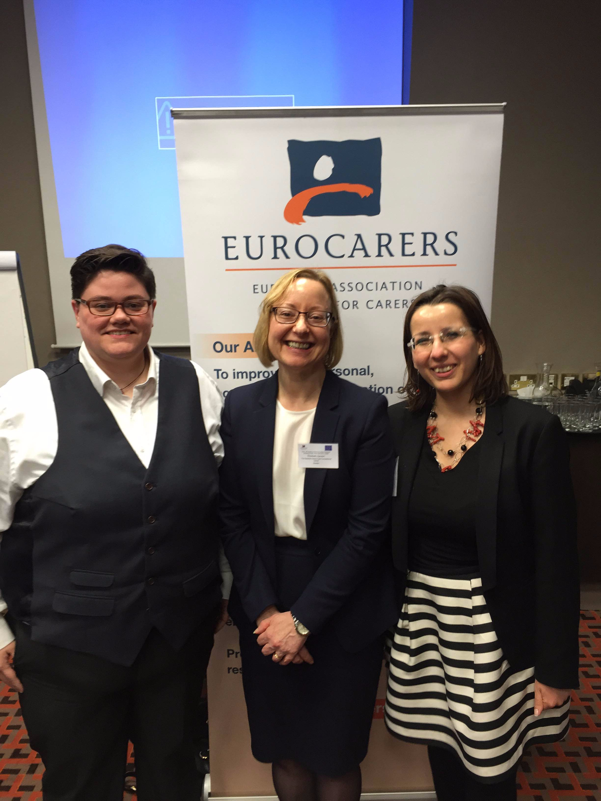 CAI Poicy & research officer Zoe Hughes with Dr. Elizabeth Hanson, Vice-President (Research) and Francesca Centola, (Adminstrator) of Eurocarers at a recent meeting in Dublin