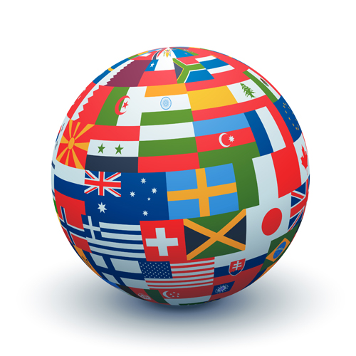 globe made of international flags