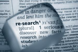 "Picture of dictionary showing the word ""research"""