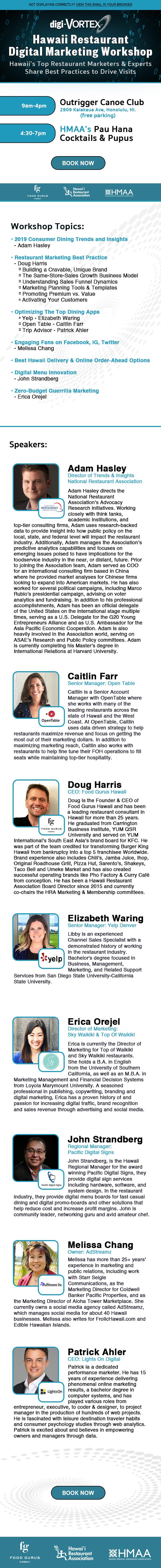 Hawaii Restaurant Digital Marketing Workshop