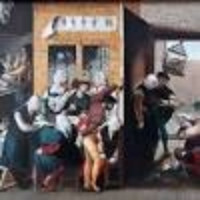 A scene from a painting showing historical street-based sex workers cavorting with clients next to an alleyway. One of the women has her skirts lifted right up to her hips in a way that would have shocked the sensibilities of the middle class in the Victorian era.