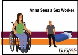 "Cover of booklet with title ""Anna Sees a Sex Worker"" shows a woman in a wheelchair with a man in the background next to a bed"