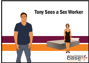 "Cover of booklet with title ""Tony Sees a Sex Worker"" shows a man standing in the foreground with a woman in the background next to a bed"