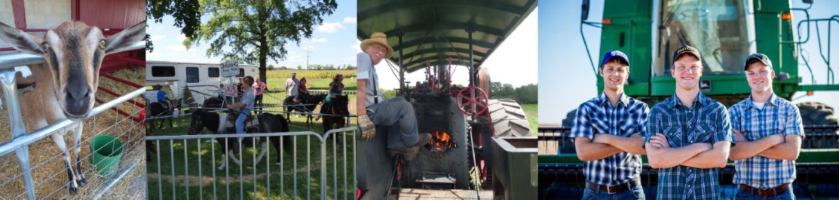 Come visit the farm animals, take a pony ride, see a steam engine, and meet the Peterson Farm Brothers!
