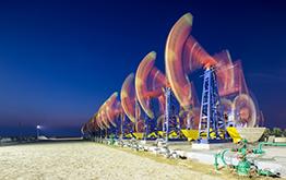 oilfield at night