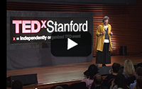 Rosemary Knight standing on TEDxStanford stage