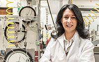 Tiziana Vanorio standing in her lab.