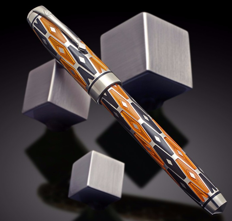 Conway Stewart Jaguar in sterling silver with orange and charcoal enamel