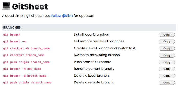 List of git commands and what they do.