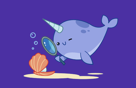 A comic narwhal inspecting a seashell.