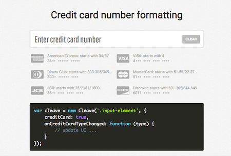 Credit card number formatting