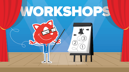 A cartoon of the Smashing Cat being on stage and giving a presentation with a flipchart