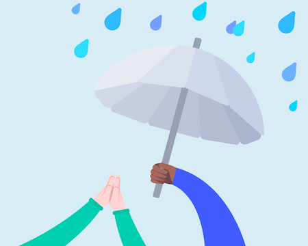 An arm holding an umbrella to protect another person from the rain.