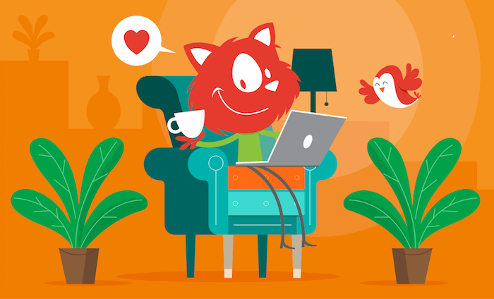 The Smashing Cat comfortably sitting in an armchair while holiding a white cup in his right hand and holding a laptop on his lap with his left hand. A smiley bird flies on the right above one of the two plants place in pots on the floor