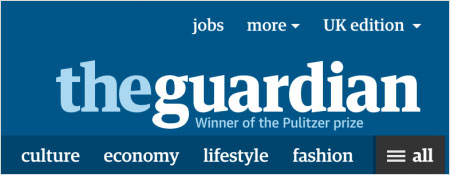 The Guardian is using the Priority+ Pattern for its primary navigation.