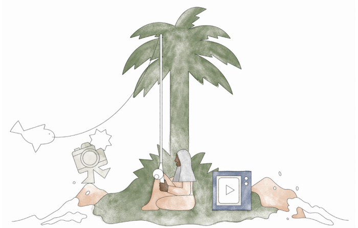 Illustration of a woman gone fishing on a deserted island. She's surrounded by a camera and a video app icon.