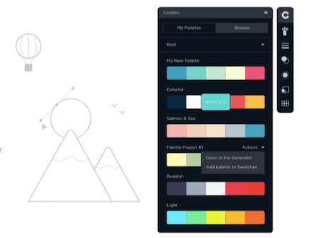Color palettes in the Coolors Adobe add-on