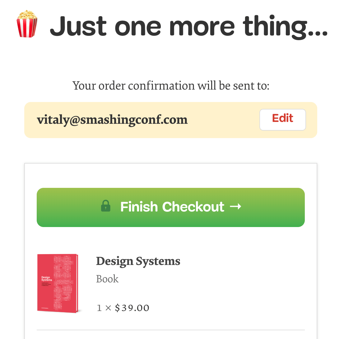 Email verification right before the purchase, on Smashing Magazine.