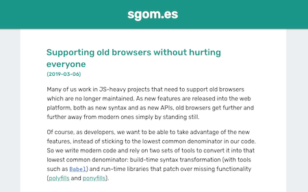 Screenshot of the article 'Supporting old browsers without hurting everyone'.