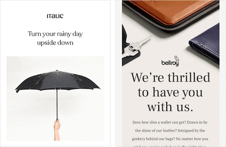 Email campaigns from Italic and Bellroy