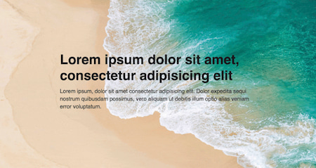Browser window showing a sticky hero image of a beach and lorem ipsum placeholder text on top of it