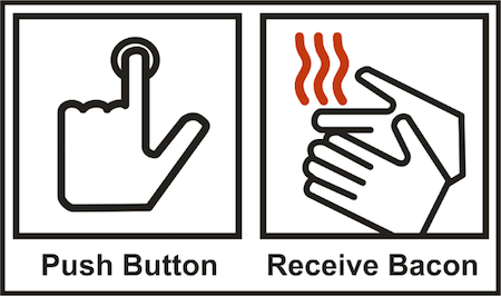 Sign for a hand dryer misinterpreted as: Push Button, Receive Bacon