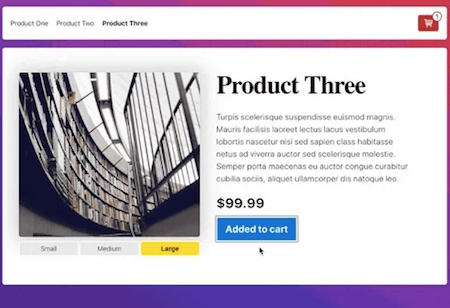 Screenshot of an example product website with a placeholder image of a library, a header saying 'Product Three', three buttons for size variations and an 'Add to cart' button.