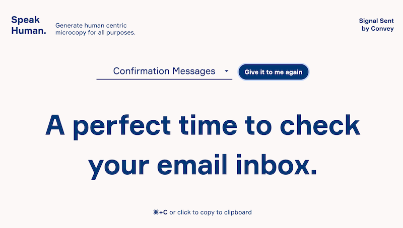 Confirmation message saying 'A perfect time to check your email inbox.'