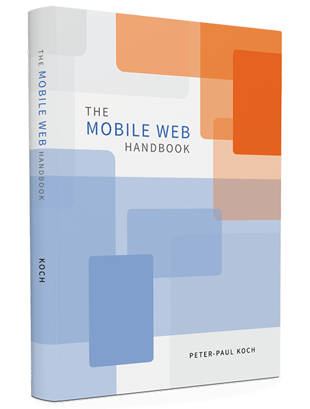 Mobile Web Handbook, by PPK, available as printed hardcover and eBook.