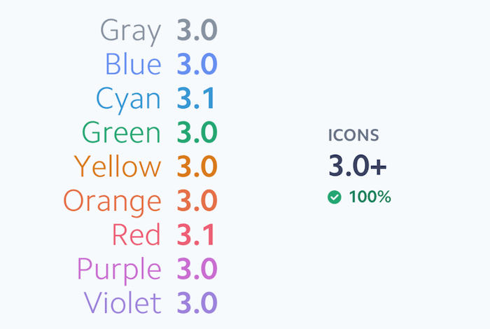 Color system for icons consisting of nine colors.