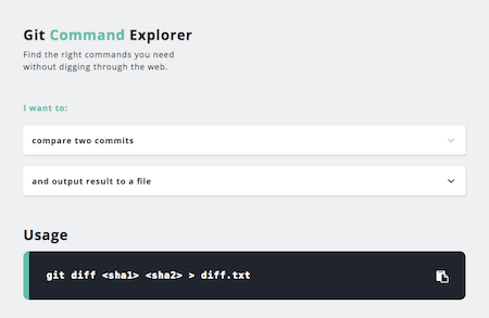 The Git Command Explorer interface
