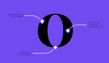 The letter O on a purple background.