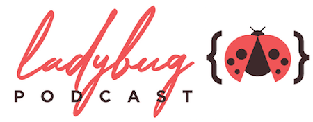 The Ladybug Podcast logo showing a ladybug inside curly brackets