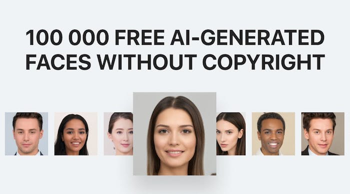 Landing page design showing the face of a woman which was created with artificial intelligence.