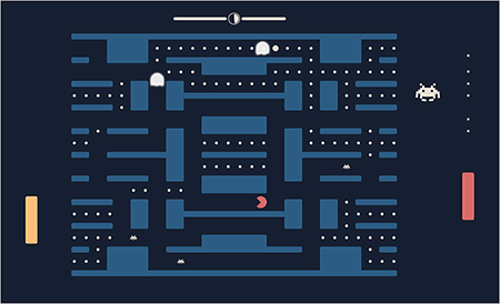 Pac-Man + Pong + Space Invaders