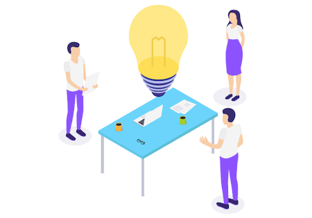 Illustration of three people standing around a desk with a big lightbulb above it to illustrate their creative process.