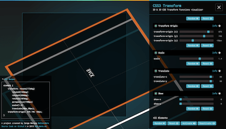 The interface of the CSS transform functions visualizer showing an example function.