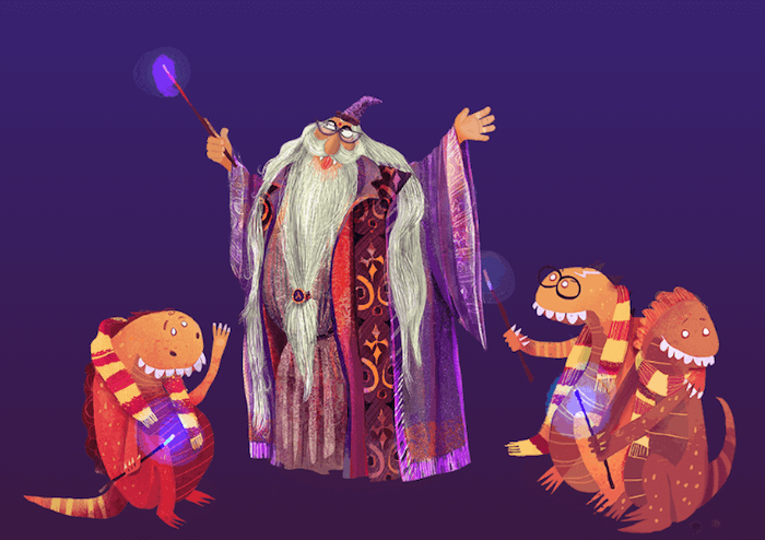 Illustration of a wizard and three little dragons who learn from him.