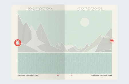 An inside look into the redesigned Norwegian passport showing an illustration of a fjord