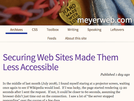 Securing Web Sites Made Them Less Accessible