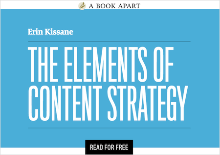 Screenshot saying 'The Elements of Content Strategy, read for free'
