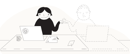 Illustration of a woman working on her laptop and fist-bumping to an imaginary working partner who sits next to her