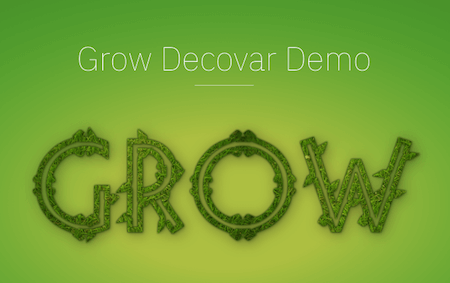 The word 'Grow' written with a variable font that looks as if leaves are growing out of the letters.