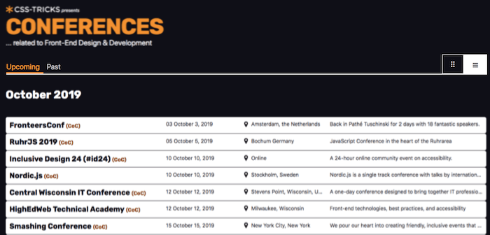 Conference schedule on CSS Tricks