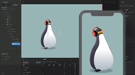 An animation of a walking penguin with headphones being created in the Flare app and showed in action on a mobile screen