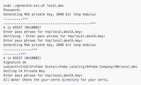 Generate SSL Certs For Local Development