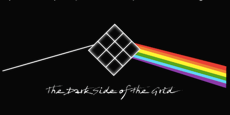 A ray of light broken into a rainbow by a Grid